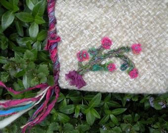 Felted wool handbag, medium small faery purse, handwoven Bohemian Bag needlefelt flowers, silk lined fantasy enchanted fairy green cat 765