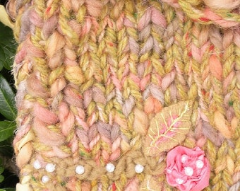 Shoulder bag purse handbag, pearl floral beaded felt silk alpaca wool lined, Bohemian Bag, boho fairy faery knit LifesAnExpedition i780
