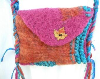Felt purse, small medium felted wool handbag, Bohemian bag with maple leaf, primitive rustic magenta teal brown tan pink smartphone  i790