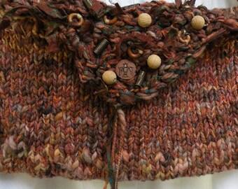 Handbag, tribal beaded wearable art purse, large Bohemian Bag, hand dyed Chilean wool 8 x 12, rustic boho brown i79 Life's an Expedition