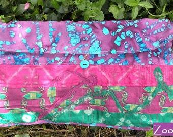 Shoulder bag. Tribal cotton handbag, beaded purse Bohemian Bag, cotton silk batik wearable art large blue pink purple i766 clearance sale
