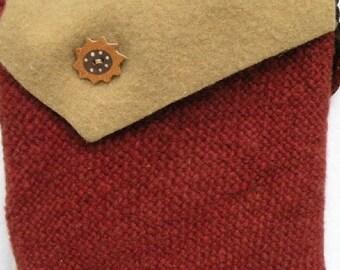 Sunflower handbag, felted wool purse, handwoven brown leather strap tan rustic hippie iPad sleeve, medium felt Bohemian Bag western i808