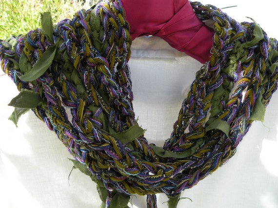 Crochet scarf Plum Tree, multicolor women's skinny knit long silk fashion, wool purple blue green, tattered skinny knit fiber art i624