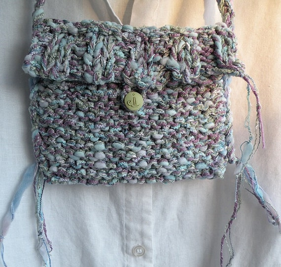Cottony purse with handmade candlestick button, handbag iPhone Bohemian Bag, purple blue green small knit crochet wedding faerie fairy i695