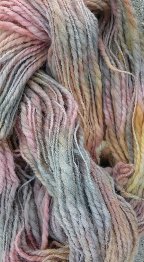 Bulky Yarn: 118 yds alpaca wool heavy worsted hand painted, rose pink peach beige gray blue gold yellow, knitting yarn, very soft