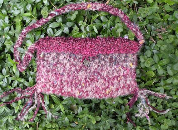 Cranberry Fizz medium handbag purse, Bohemian Bag, silk merino wool, wearable art boho faery fairy plum purple magenta red beige fuzzy i782