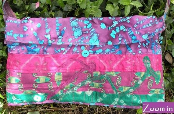 Shoulder bag. Tribal cotton handbag, beaded purse Bohemian Bag, cotton silk batik wearable art large blue green pink purple i766