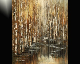 Hand textured giclee print on CANVAS of original forest painting MILLER'S POND by Tatiana Iliina stretched #10/50