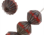 Czech Glass Fluted Cathedral Beads 9mm Opaque Red/Picasso (12 Beads) - BCP-39201
