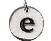 Silver Plated 1/2 Inch Round Alphabet Charm Lowercase Letter 'e' - PND-9555