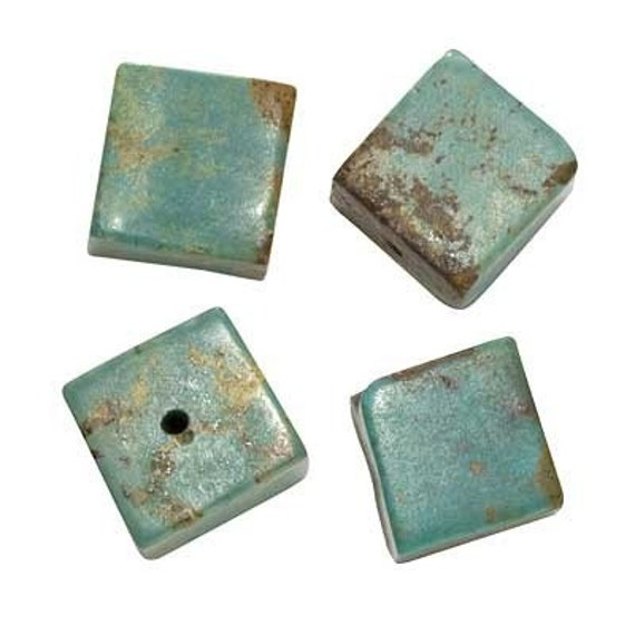 Green Turquoise Gem 10mm Square Cube Beads Stabilized (4 Beads) - SPTU-70