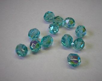 Bead - 15 - Jablonex Czech fire-polished glass, light aqua AB, 8mm faceted round