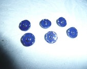 VTG.Navy Flower Buttons,6 ,Bead Center
