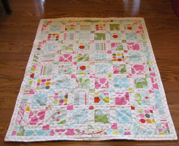 Ready To Ship Handmade Baby Blanket Quilt using Beautiful Kumari Garden fabrics with Grey Minky Backing
