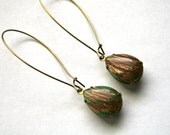 Green/Gold Shimmery Teardrop Zebra Gem Earrings