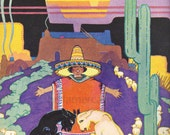 Boy in Large Sombrero Hat with Fighting Goats 1920s Childrens Book Illustration by H C Holling