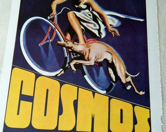 Vintage Bicycle Poster Cosmos Bicycle with Running Greyhound Dog Poster Size Book Plate