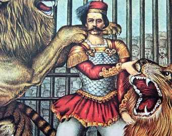 Vintage Lion Tamer Circus Poster Size Book Plate