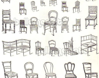 Vintage French Furniture Book Illustrations of Chairs Beds  from  France Advertising Art from early 1900s