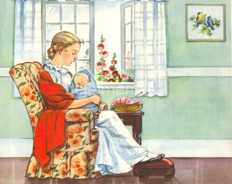 Hush Baby My Doll Mother Goose Nursery Rhymes Illustration by Eulalie