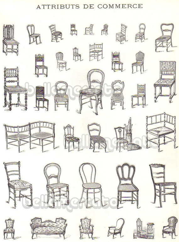 Vintage french furniture book illustrations of chairs beds for Types of furniture styles