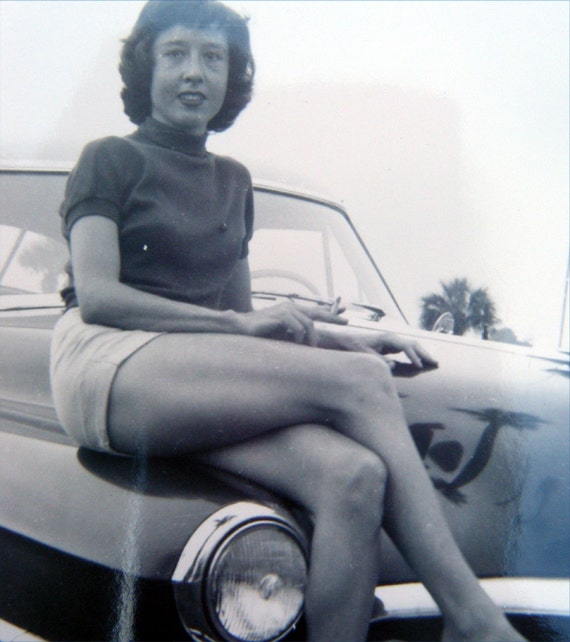 Vintage 1940s - 50s Photographs Girls and Women with Cars