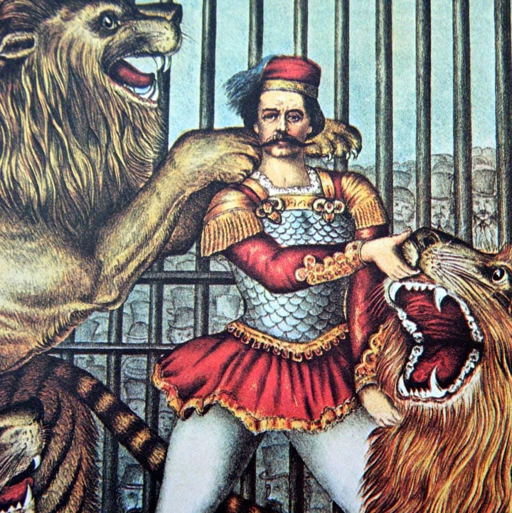 reserved vintage lion tamer circus poster size book plate. Black Bedroom Furniture Sets. Home Design Ideas