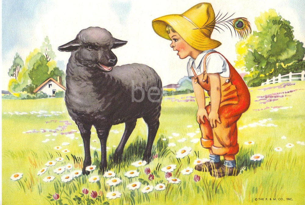 Baa Baa Black Sheep Mother Goose Nursery Rhymes Illustration