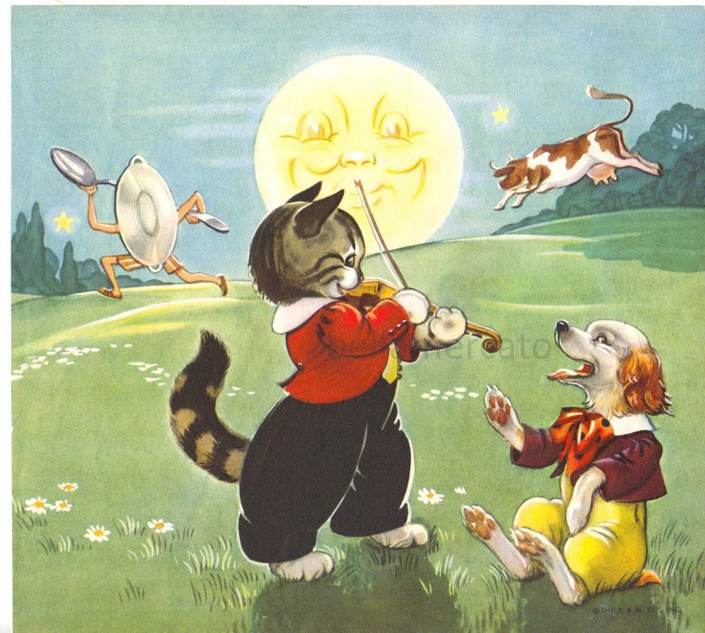 Hey Diddle Diddle Mother Goose Nursery Rhymes Illustration By