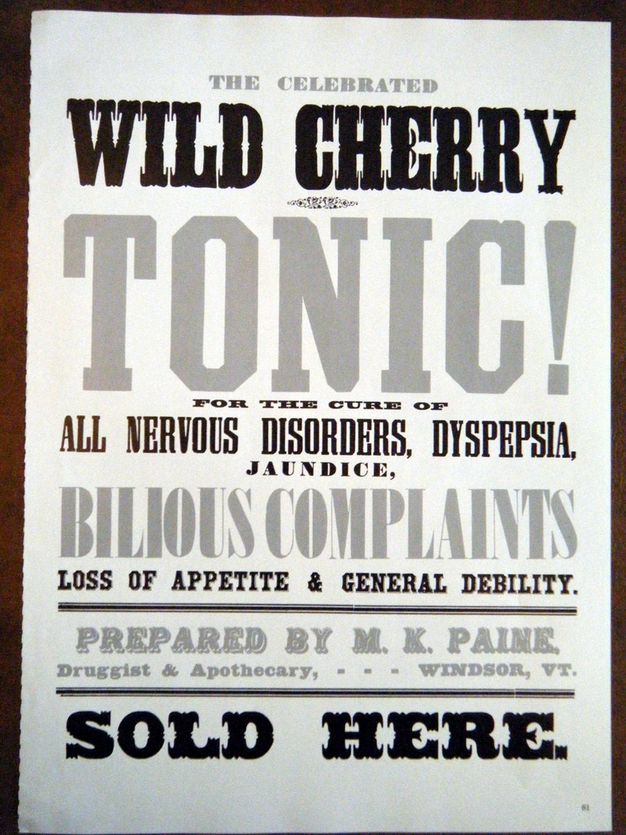 1800s Cure All Poster The Celibrated Wild Cherry Tonic for All