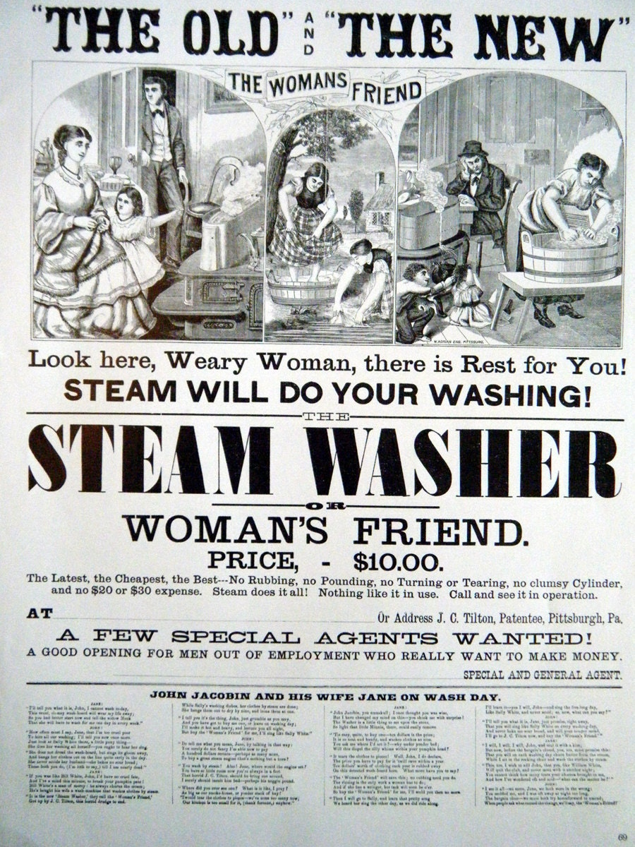 1800s Poster The Steam Washer or Womans Friend on Wash Day