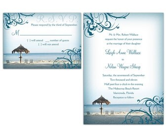 Beach Wedding Invitations and RSVP cards
