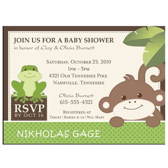 items similar to monkey and frog baby shower invitations on etsy