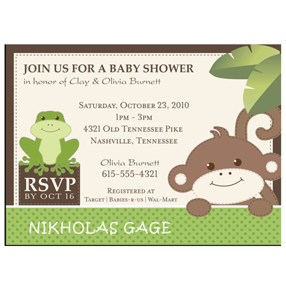 Printable monkey themed baby shower invitations - Baby shower monkey pictures ...