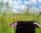 Black Lamb Hat, plush sheep earflap animal hat