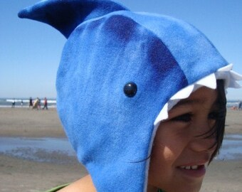 Shark Hat fleece child sized animal hat beach