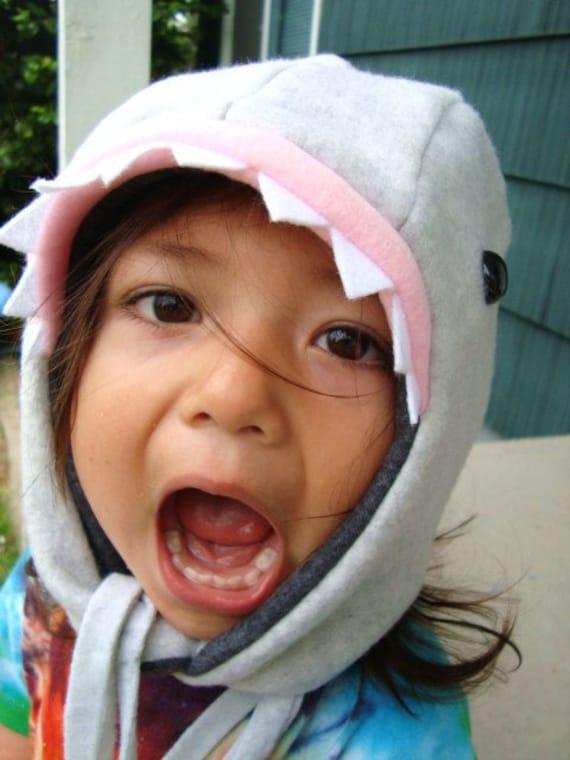 Great White Shark Hat fleece child warm fun animal