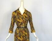 Vintage 1960s Dress / L'Aiglon / 60s Dress / Forest Paisley Print / M