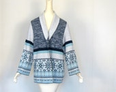 Vintage Snowflake Sweater / 70s Cardigan / Space Dyed Sweater / L XL
