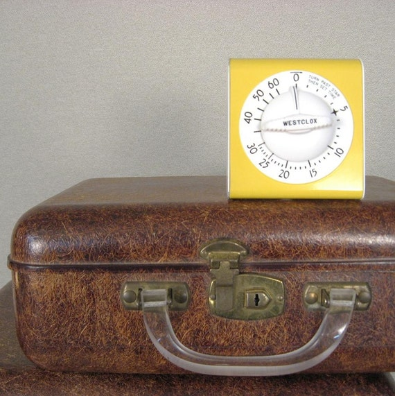 Vintage 1950s Westclox Kitchen Timer YELLOW