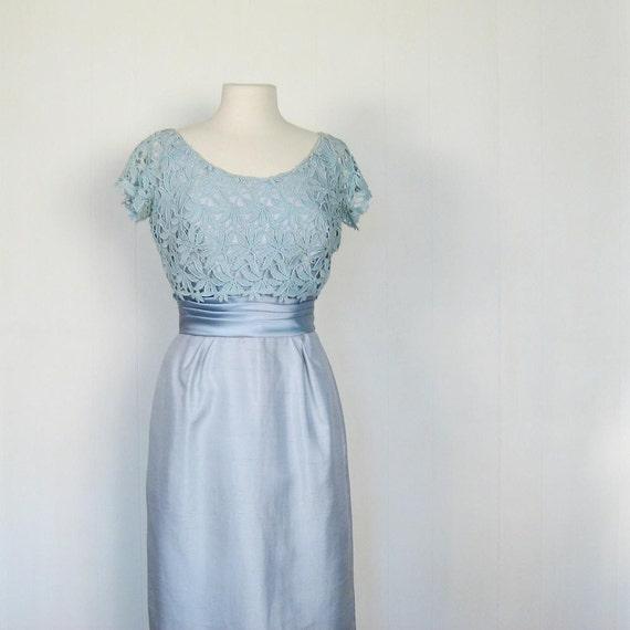 Vintage 1950s ICE BLUE Cocktail Dress S