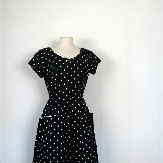 Vintage Polka Dot Dress / 1950s / Black and White / L