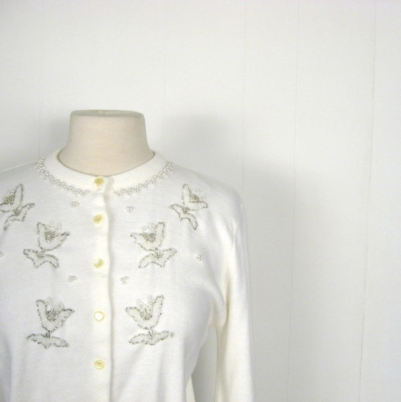 1950s Beaded Cardigan / Snow Sparkle / L