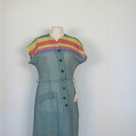 Vintage 50s Dress / Sage Green Striped Dress / Deadstock 1950s Dress / L
