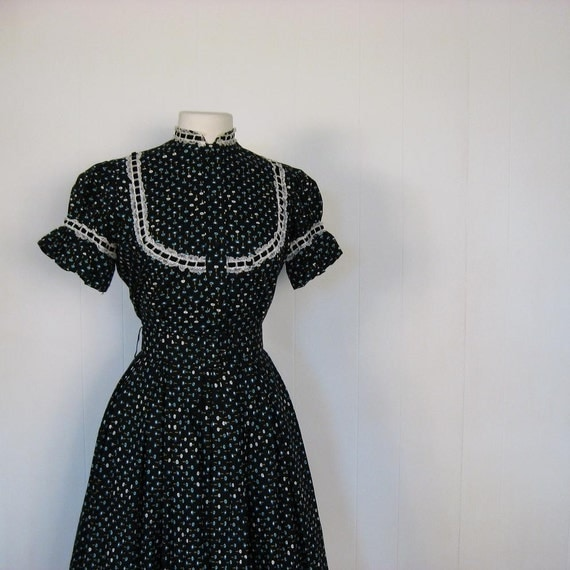 1950s Dress / 50s Dress / Poppy Print / 2 Piece Dress / XS S