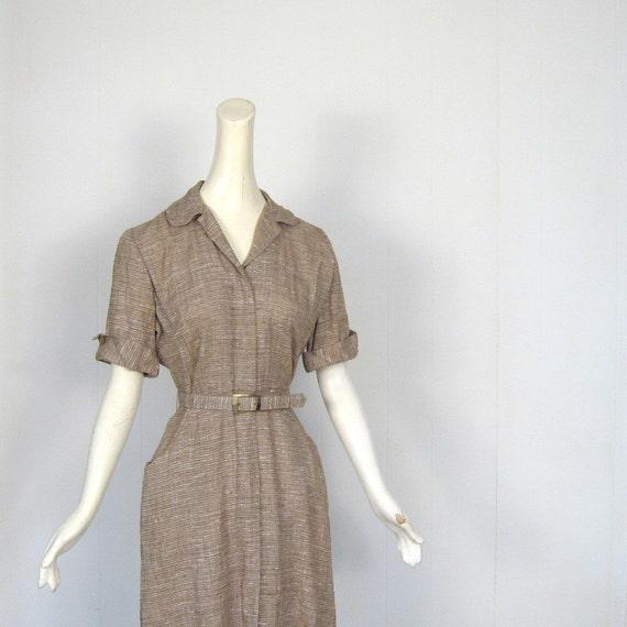 1940s Dress / 40s Dress / Tweedy Brown / 40s Day Dress / S M