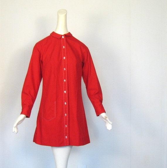 60s Dress / Red Mini Dress / 1960s Dress / Peter Pan Collar / M