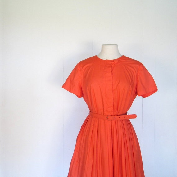 50s Coral Dress / Full Pleated Skirt / 1950s Dress / L