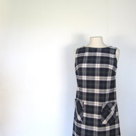 1960s Plaid Dress / Shift Dress / 60s Dress / M