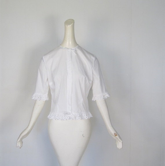 Eyelet Ruffles Blouse / 60s Blouse / White Blouse / Medium Large M L